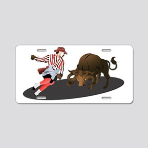 Clown and Bull 1-No-Text Aluminum License Plate