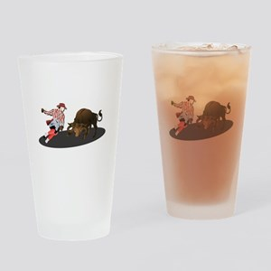 Clown and Bull 1-No-Text Drinking Glass