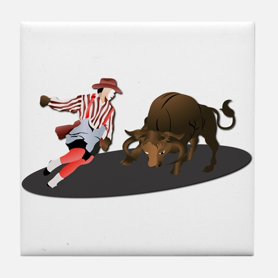 Clown and Bull 1-No-Text Tile Coaster