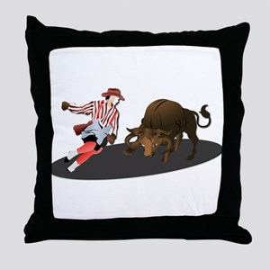 Clown and Bull 1-No-Text Throw Pillow