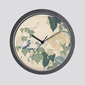 Morning Glories by Hokusai Wall Clock