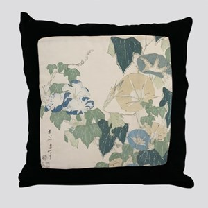 Morning Glories by Hokusai Throw Pillow