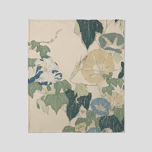 Morning Glories by Hokusai Throw Blanket