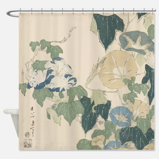 Morning Glories by Hokusai Shower Curtain