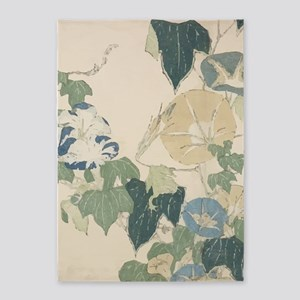 Morning Glories by Hokusai 5'x7'Area Rug