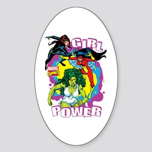 Marvel Comics Girl Power Sticker (Oval)