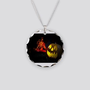 Jack-o-Lantern Necklace Circle Charm
