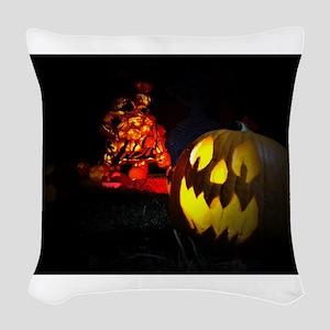 Jack-o-Lantern Woven Throw Pillow