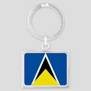 Saint Lucia flag Landscape Keychain