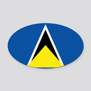 Saint Lucia flag Oval Car Magnet