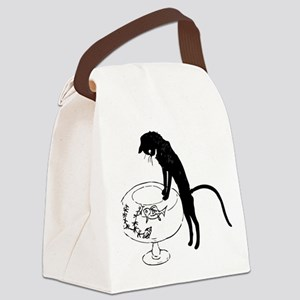 Cat Peering into Fishbowl Canvas Lunch Bag