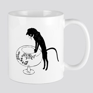 Cat Peering into Fishbowl Mug
