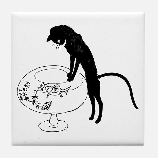 Cat Peering into Fishbowl Tile Coaster