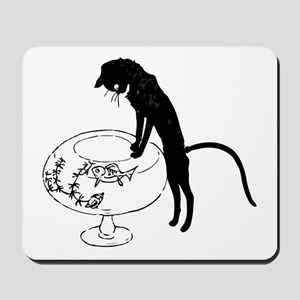 Cat Peering into Fishbowl Mousepad