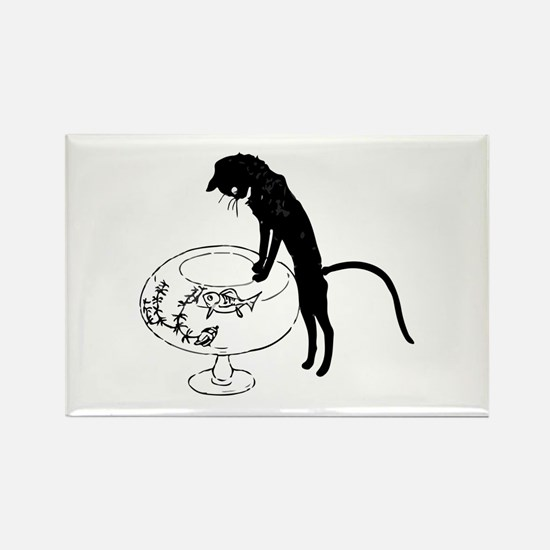 Cat Peering into Fishbowl Rectangle Magnet
