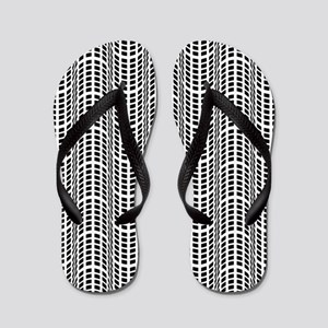 Black & White OpArt - Endless Flow Flip Flops