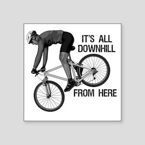 """Downhill Mountain Biker Square Sticker 3"""" x 3"""""""