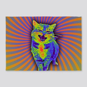 Psychedelic Kitty 5'x7'Area Rug
