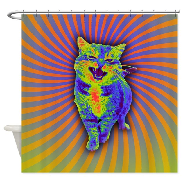 Psychedelic Kitty Shower Curtain By Admin CP128382167