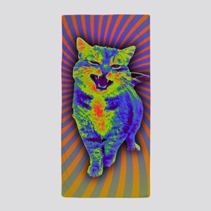 Psychedelic Kitty Beach Towel