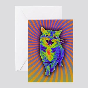 Psychedelic Kitty Greeting Cards