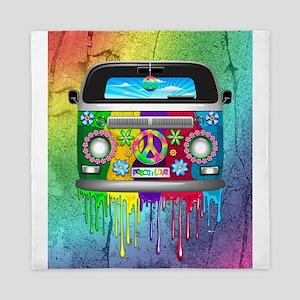 Hippie Van Dripping Rainbow Paint Queen Duvet