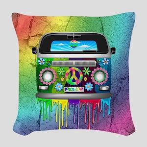 Hippie Van Dripping Rainbow Paint Woven Throw Pill