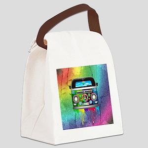 Hippie Van Dripping Rainbow Paint Canvas Lunch Bag