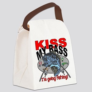 Kiss My Bass, I'm Going Fishing Canvas Lunch Bag