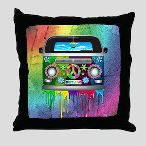 Hippie Van Dripping Rainbow Paint Throw Pillow