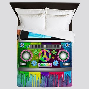 Hippie Van Dripping Rainbow Paint Queen Duvet