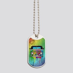 Hippie Van Dripping Rainbow Paint Dog Tags