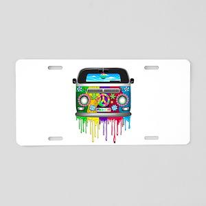 Hippie Van Dripping Rainbow Paint Aluminum License