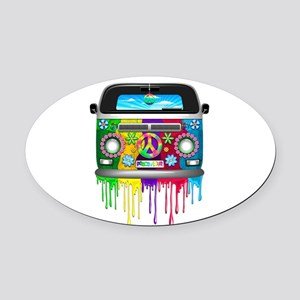 Hippie Van Dripping Rainbow Paint Oval Car Magnet