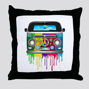 Hippie Van Dripping Rainbow Paint Throw Pillow