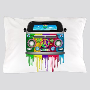 Hippie Van Dripping Rainbow Paint Pillow Case