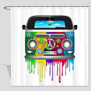Hippie Van Dripping Rainbow Paint Shower Curtain