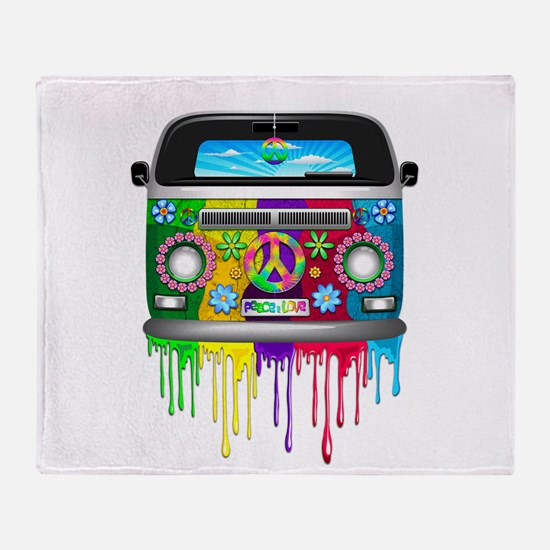 Hippie Van Dripping Rainbow Paint Throw Blanket