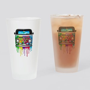 Hippie Van Dripping Rainbow Paint Drinking Glass