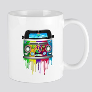 Hippie Van Dripping Rainbow Paint Mugs