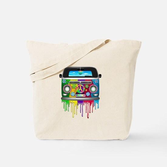 Hippie Van Dripping Rainbow Paint Tote Bag