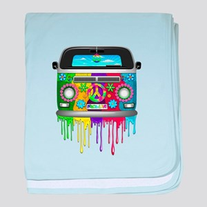 Hippie Van Dripping Rainbow Paint baby blanket