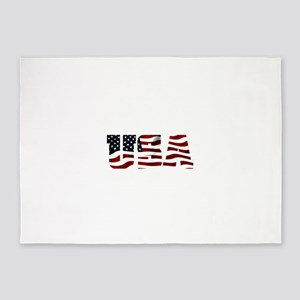 USA Flag Logo 5'x7'Area Rug