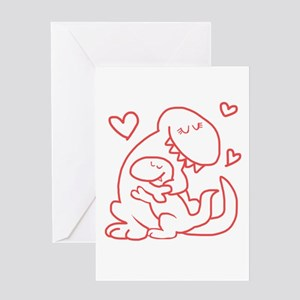 Hugging Dinos Greeting Cards