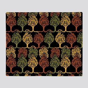 Fall Color Tree Pattern Throw Blanket
