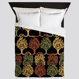 Fall Color Tree Pattern Queen Duvet