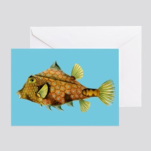 Orange and Blue Cowfish Greeting Card