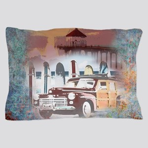 Classic Woody Surfing Art Pillow Case