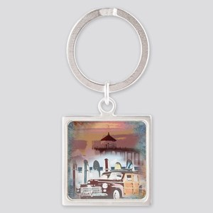Classic Woody Surfing Art Square Keychain
