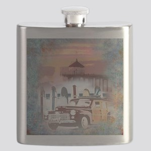 Classic Woody Surfing Art Flask